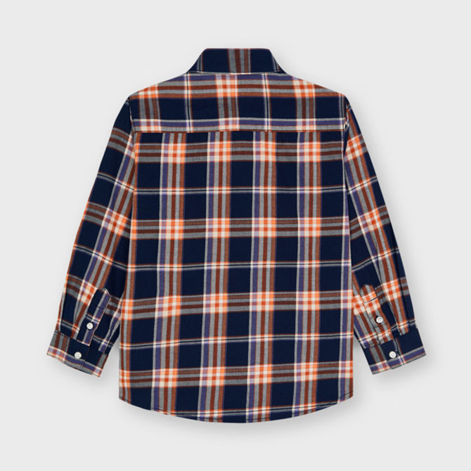 Mayoral Long Sleeve Slim Fit Plaid Shirt