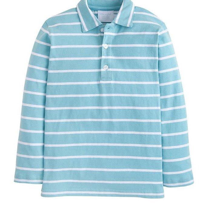 Little English Long Sleeve Striped Polo Aqua