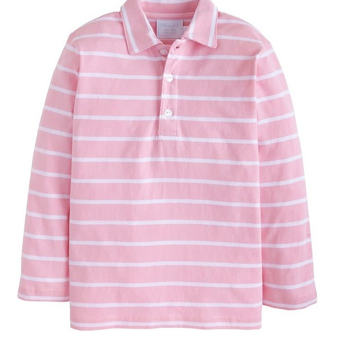 Little English Long Sleeve Striped Polo Pink