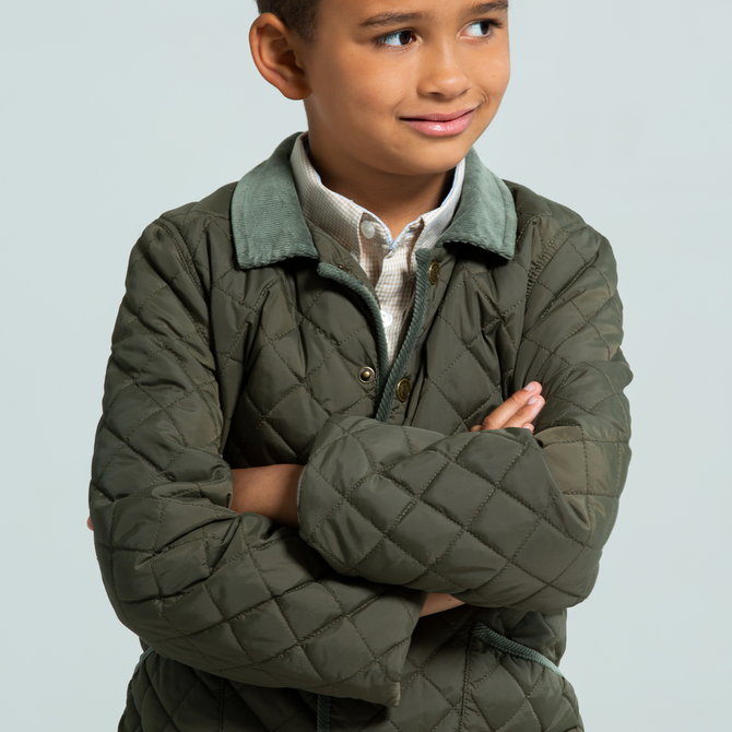 Little English Boy's Classic Quilted Jacket - Olive