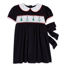 Bella Bliss Smocked Tree Dress- Navy Cord