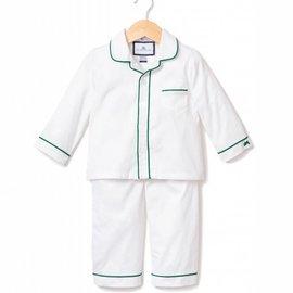 Petite Plume Petite Plume White with Green Piping Pajamas