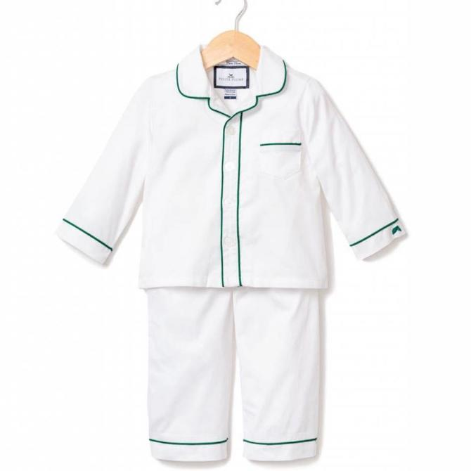 Petite Plume Petite Plume White with Green Piping Pajamas