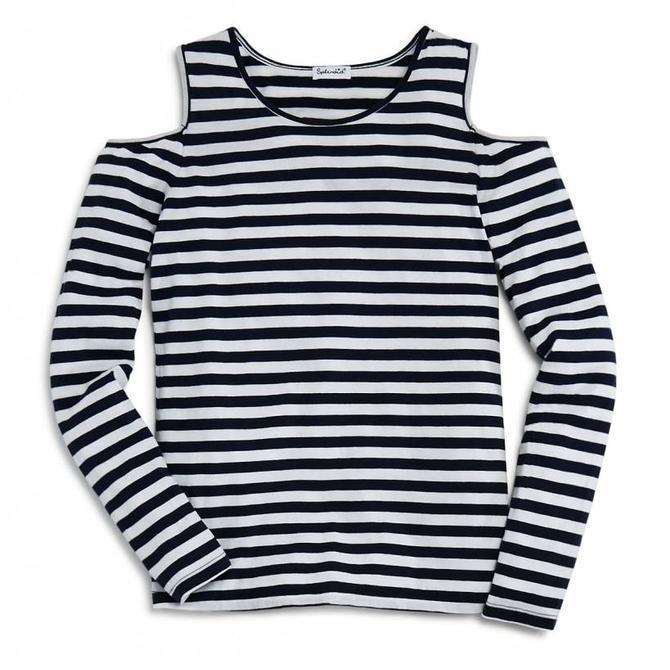 Splendid LS Cold Shoulder Stripe Top