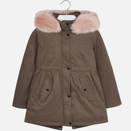 Mayoral Duffle Coat with Fur Green