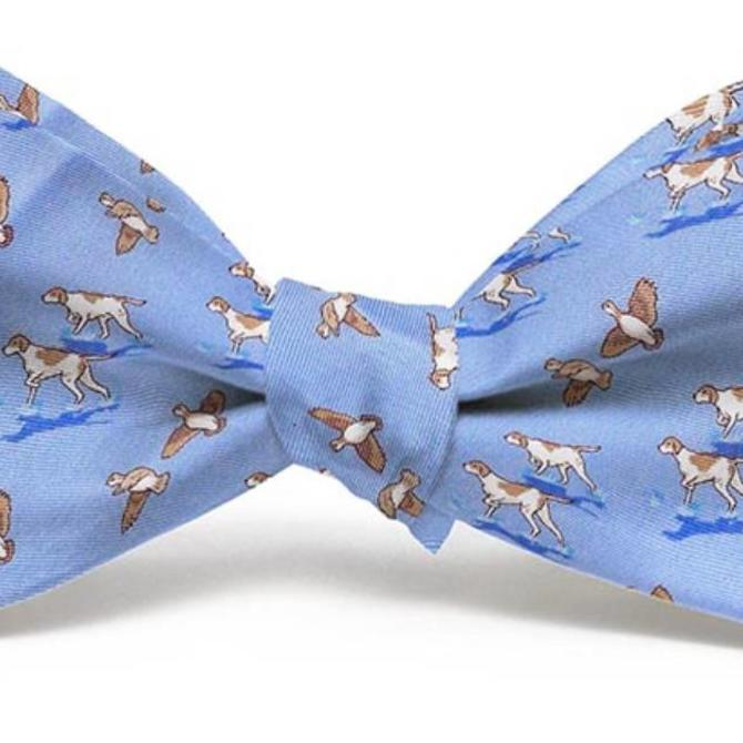 Bird Dog Bay Youth Bow Tie Blue Quail Hunt