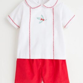 Little English Little English Holly Feather Stitch Short Set