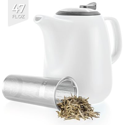 White Large Ceramic Teapot With Infuser 47 oz