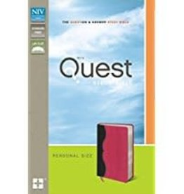 NIV Quest Study Bible, personal size, Gray/Pink indexed  6989