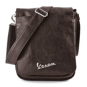 Lifestyle Shoulder Bag, Brown Leather Vespa logo