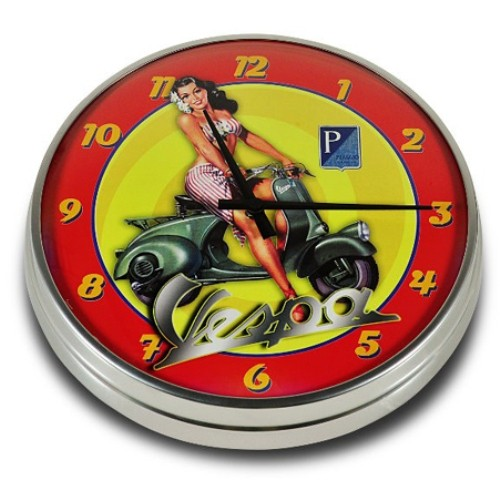 "Lifestyle Wall Clock Vespa Aloha Pin Up 12.60"""