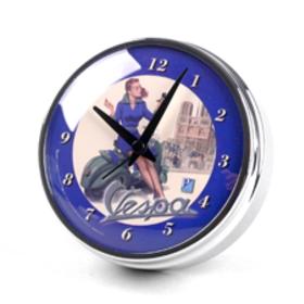 "Lifestyle Desk Clock Blue Vespa Red Head 4.75"""