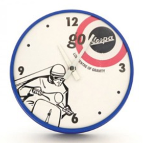 "Lifestyle Clock, ""Go Vespa"" 10"" dia Blue"