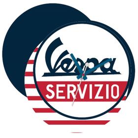 """Lifestyle Clock, """"Vespa Servizio"""" Blue/White/Red"""