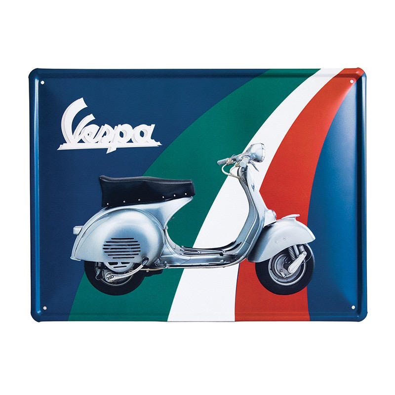 Lifestyle Sign, Metal Vespa Tricolore Green/White/Red Rectangular