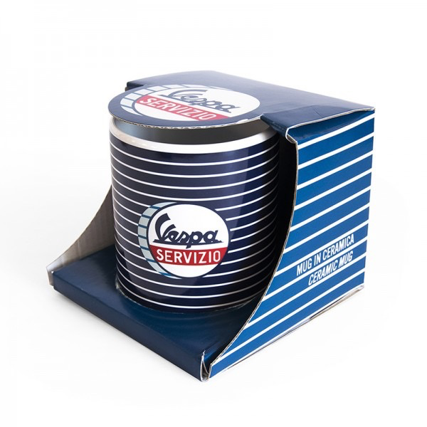 "Lifestyle Mug, ""Vespa Servizio"" Blue Striped Ceramic"