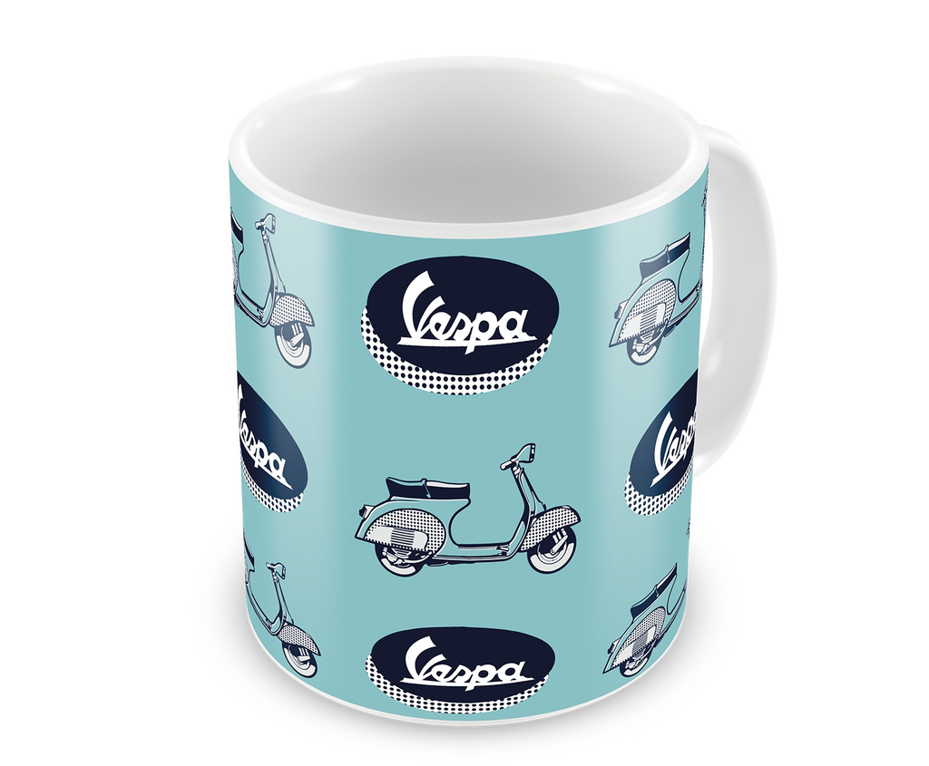 Lifestyle Mug, Blue Vespa/Logo Ceramic