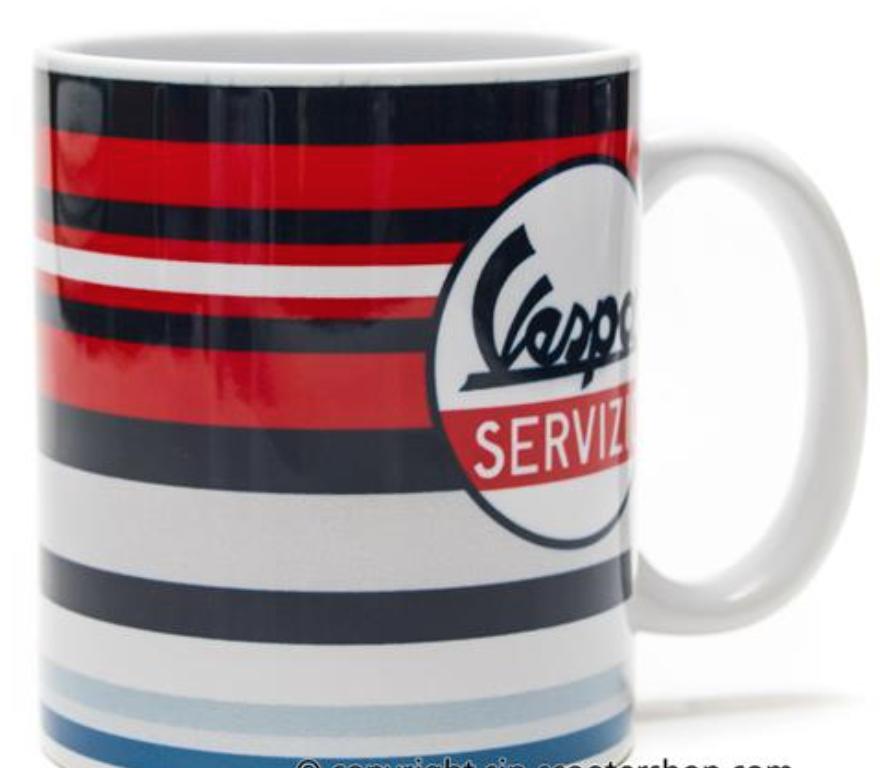 """Lifestyle Mug, """"Vespa Servizio"""" Multi Coloured Striped"""