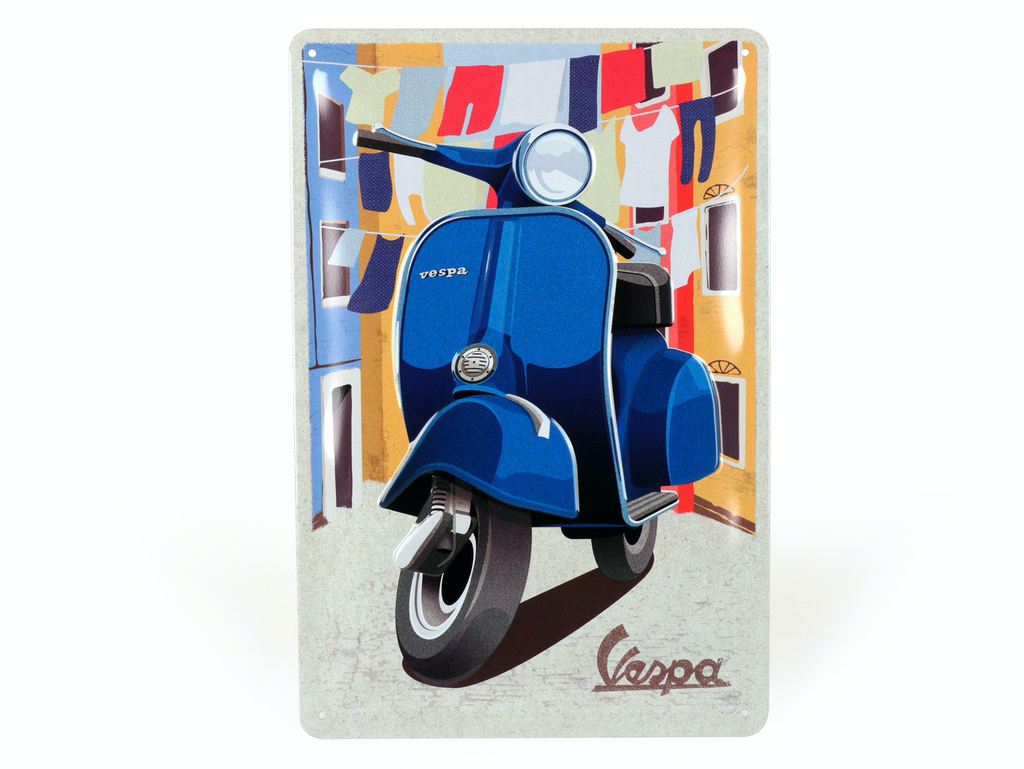 Lifestyle Sign, Metal Vespa Blue Italian Laundry 20x30cm