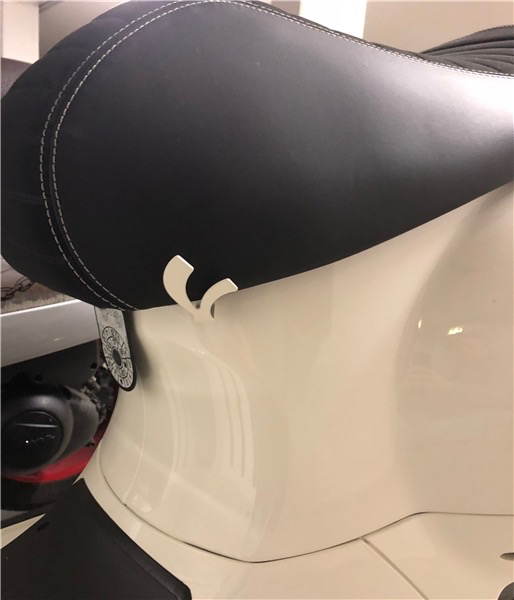 "Accessories Helmet Hook, Vespa ""V"" Seat Post Lock"