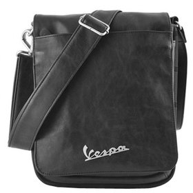 Lifestyle Shoulder Bag, Black Leather Vespa logo