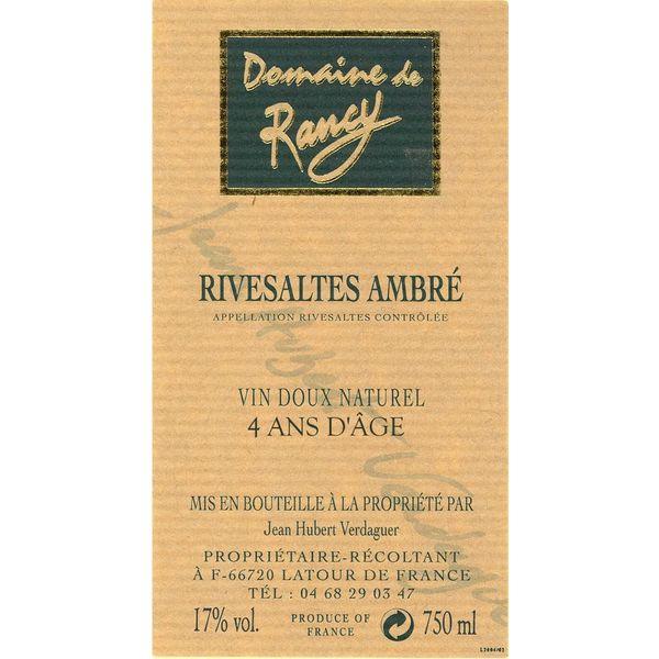 Domaine Rancy Rivesaltes Ambre 4 Ans D'Age<br /> France