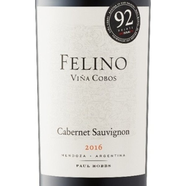 Vina Cobos/Paul Hobbs Felino Cabernet Sauvignon 2016<br /> Mendoza, Argentina<br /> 92pts-JS