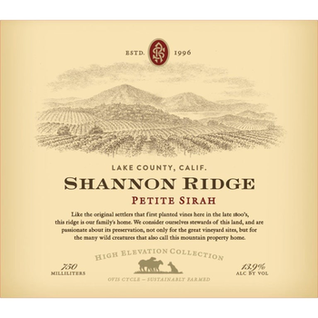 Shannon Ridge High Elevation Petite Sirah 2018<br /> Lake County, North Coast, California