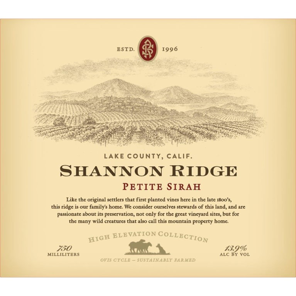 Shannon Ridge High Elevation Petite Sirah 2017<br /> Lake County, North Coast, California