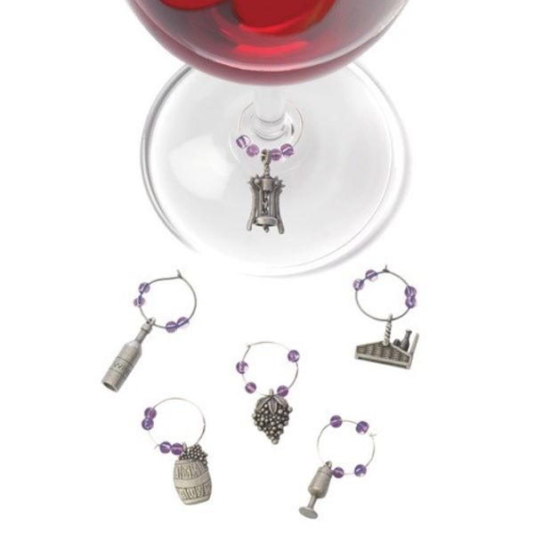 True Winery Set of 6 Pewter Wine-Charms