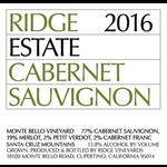 Ridge Ridge Estate Cabernet Sauvignon Monte Bello 2016<br /> Santa Cruz Mountains, California<br /> 94pts-JD
