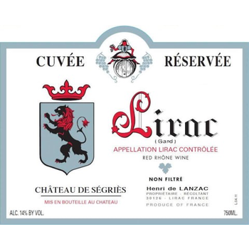 Ch Segries Ch Segries Lirac Rouge 2016 Rhone, France<br /> 90pts-WA, 90pts-WE