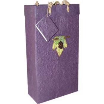 Bella Vita Handmade Paper Two Bottle Violet Grape Gift Bag