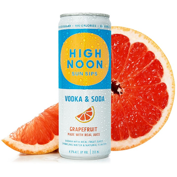 High Noon Sun Sip Vodka & Soda Grapefruit   Priced Per Can