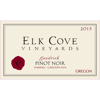 Elk Cove Elk Cove Vineyards Goodrich Pinot Noir 2015<br /> Yamhill-Carlton District, Willamette Valley, Oregon<br /> 94pts-WA