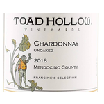 Toad Hollow Vineyards Francine's Selection Unoaked Chardonnay 2018<br /> Mendocino County, California