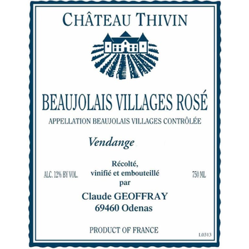 Chateau Thivin Beaujolais Villages Rose 2019<br /> Beaujolais, France<br /> 90pts-JS