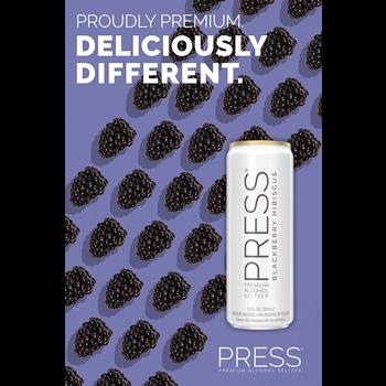 Press Malt Seltzer Blackberry Hibiscus  Priced Per Can