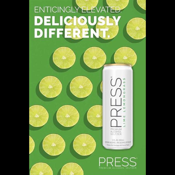 Press Malt Seltzer Lime Lemongrass  Priced Per Can
