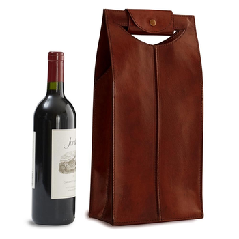 Epic Leather Wine Bag Brown 2-Bottle