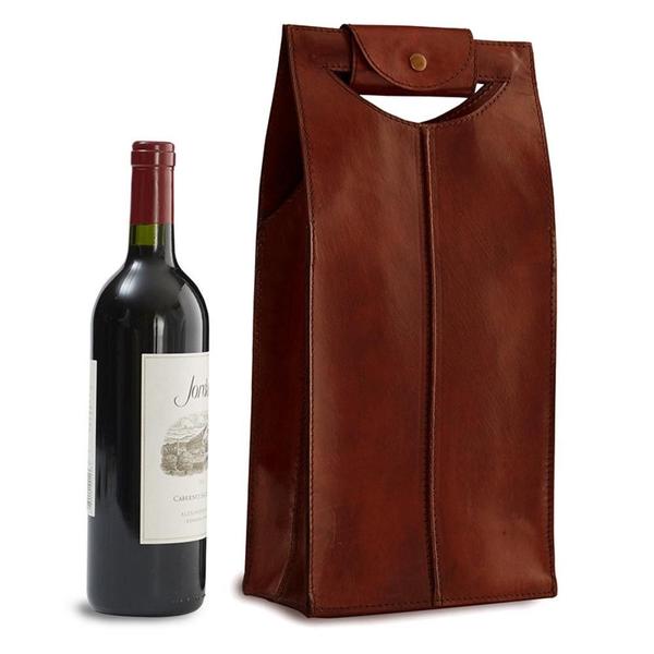 Epic Leather Wine Bag Brown 2-Bottle