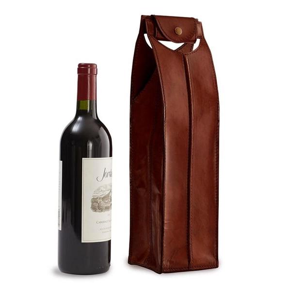 Epic Leather Wine Bag Brown 1 Bottle