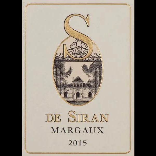 Ch S De Siran Margaux 2015<br /> Bordeaux, France<br /> 93pts-JS