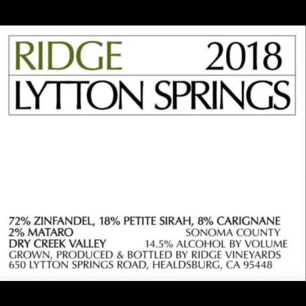 Ridge Ridge Lytton Springs 2018  <br /> Dry Creek Valley, Sonoma County, California<br /> 96pts-V
