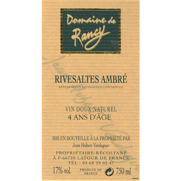 Domaine Rancy Rivesaltes Ambre 4 Ans D'Age<br /> France