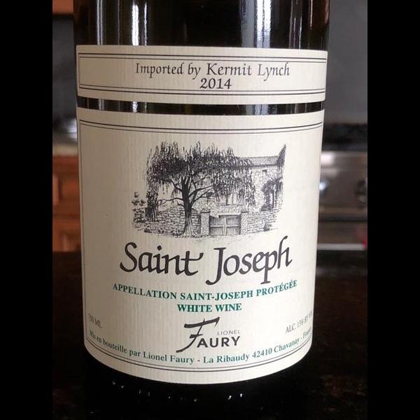 Faury St Joseph Blanc 2016<br /> Northern Rhone, France