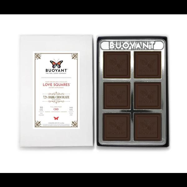 Buoyant Brands Love Squares 72% Dark Chocolate/Blackberry (Hemp CBD Infused Chocolate)