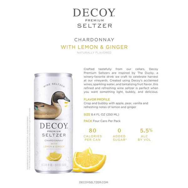 Decoy Wine Seltzer Chardonnay with Lemon & Ginger 4 Pack Cans 250ml<br /> California