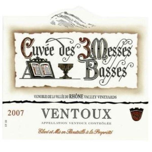 """Les Vignerons du Mont Ventoux Cotes du Ventoux """"Cuvée des 3 Messes Basses"""" Rouge 2016 Rhone, France"""