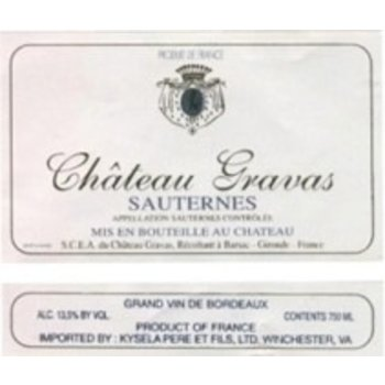 Ch Gravas Ch Gravas Sauternes 2014  375ml<br />